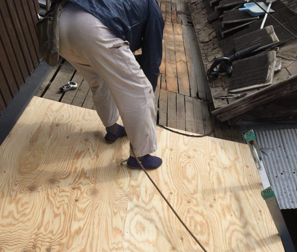 屋根工事 コンパネ追い張り 岡山