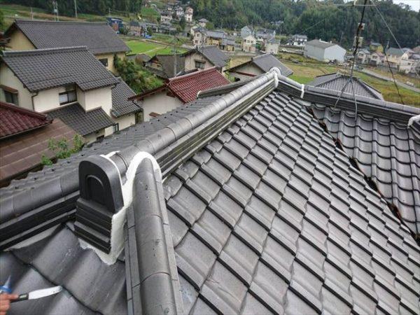 岡山県津山市 屋根工事 雨漏り修理 地瓦ズレ止め完了