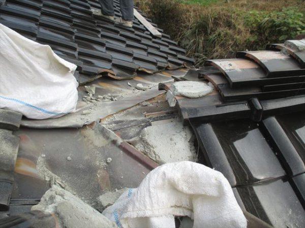 岡山県吉備中央町 雨漏り修理 棟解体