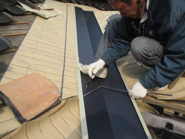 岡山県吉備中央町 雨漏り補修 谷板金取り替え