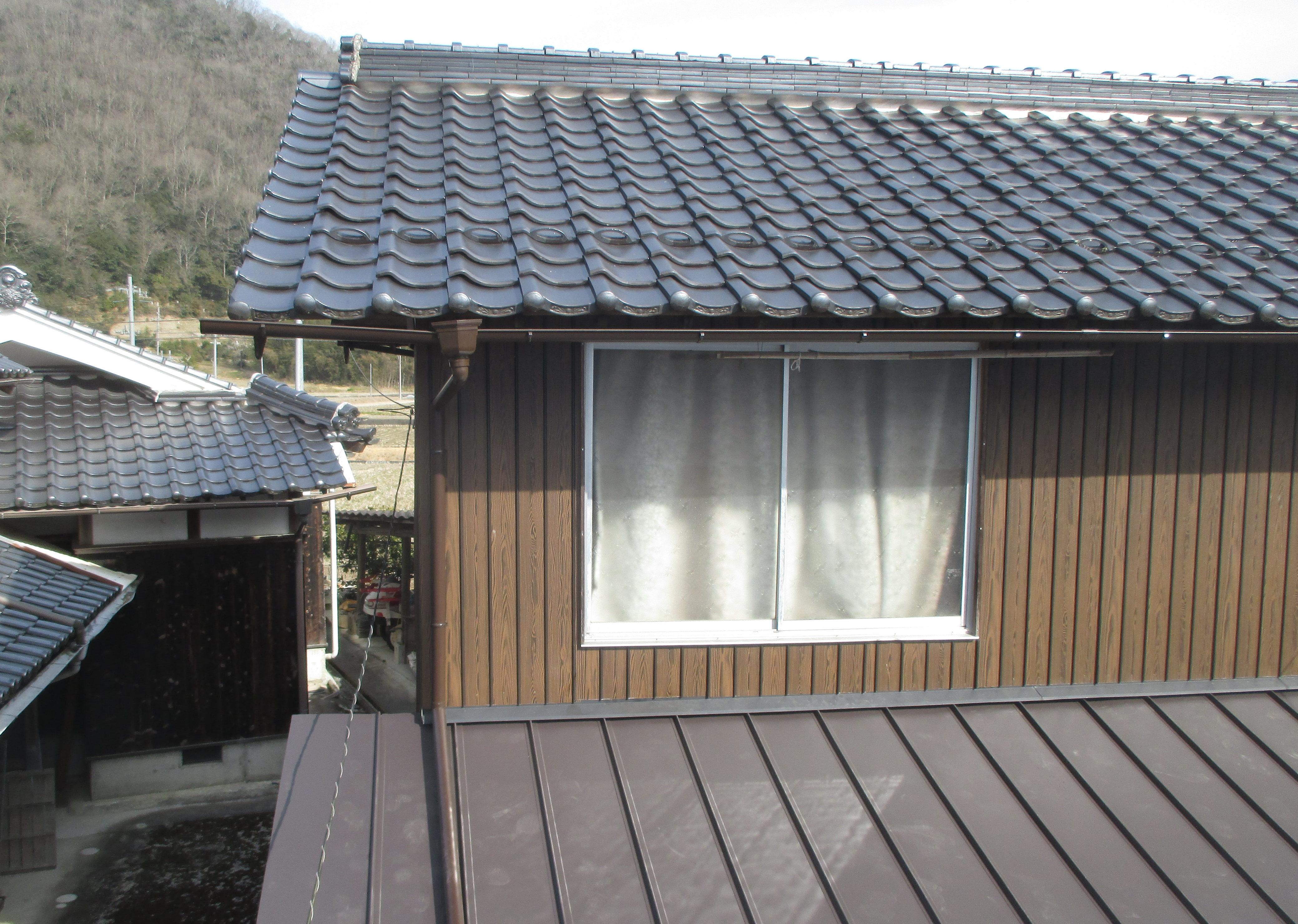 屋根工事 板金屋根 雨どい取り換え 岡山
