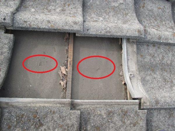 岡山市南区 屋根工事 雨漏り点検 防水紙に穴