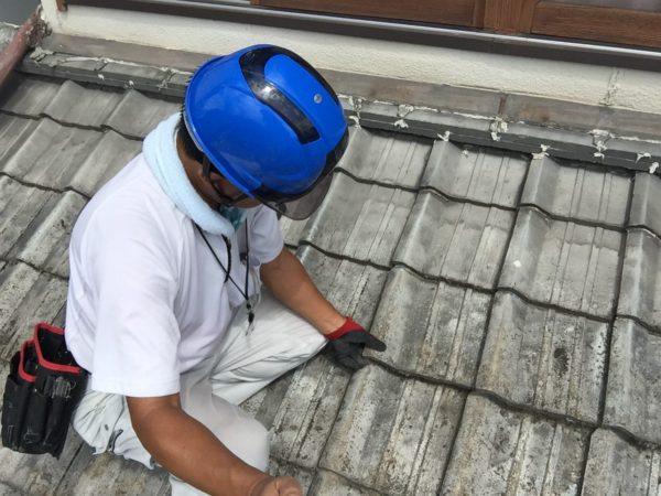 岡山市北区 雨漏り修理 ずれた瓦を直します。